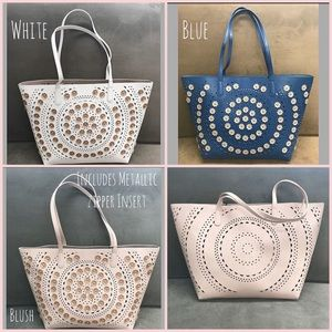 SR Metallic Flower Perforated Tote, NWT